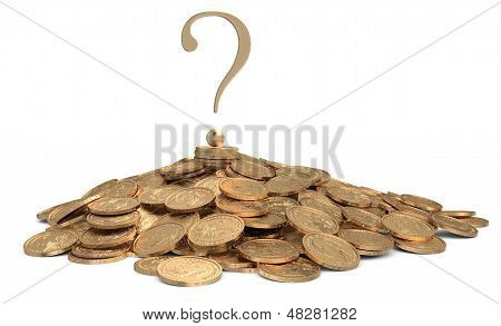 Heap Of Coins With Sign Of Question