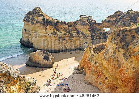 Natural rocks at praia Tres Irmaos in the Algarve in Portugal