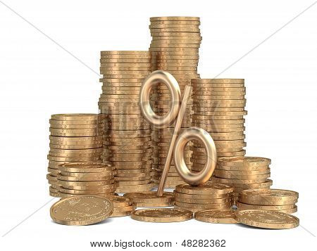 Stack Of Golden Coins With Sign Of Percents