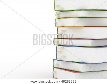 Stacks Of Books With Bookmarks Isolated On White Background