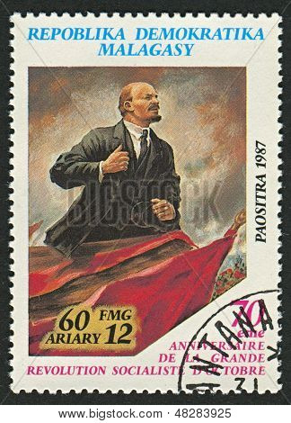 MADAGASCAR - CIRCA 1987: A stamp printed in Madagascar shows image of The Vladimir Ilyich Lenin; born Ulyanov was a Russian communist revolutionary, politician and political theorist, circa 1987.
