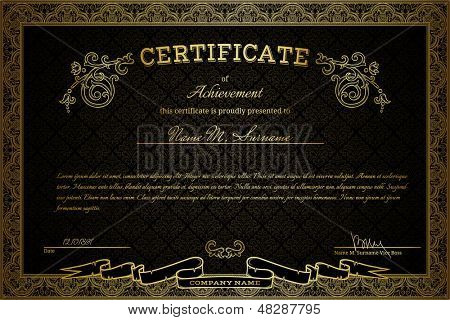 Diploma or certificate on black damask background