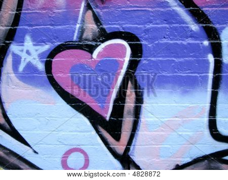 Painted Heart On Brick Wall