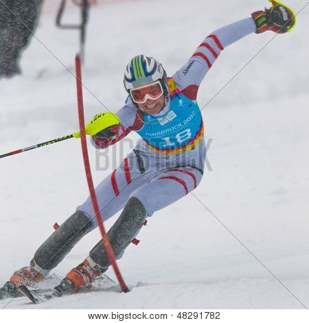 PATSCHERKOFEL, AUSTRIA - JANUARY 21 Mathias Elmar Graf (Austria) places third in the men's slalom on January 21, 2012 in Patscherkofel, Austria.