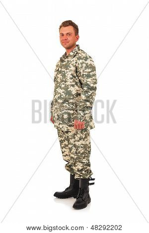 Military Man isolated on a white background poster