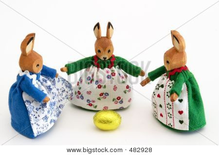 Easter Bunnies With Golden Egg