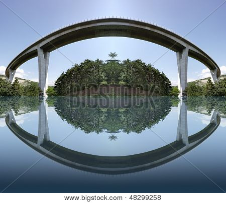Photo elaboration from an image of a highway bridge poster