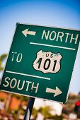 A green US 101 South highway sign background poster