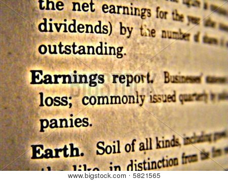 Dictionary Earnings Report