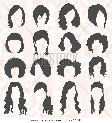 Vector Set: Woman's Hair Style Silhouettes