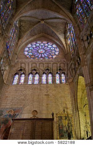 Lateral Porch Of Santa Maria De Leon Cathedral In Leon. Spain