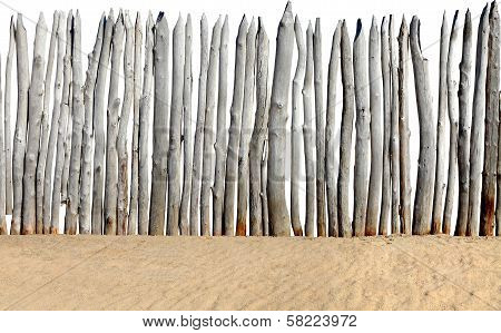 Fence On Sand Isolated