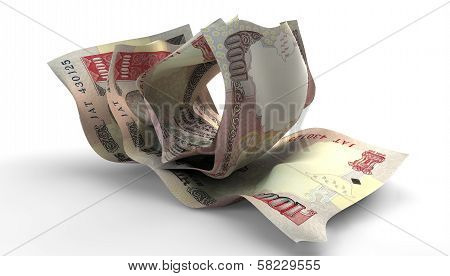 Scrunched Up Indian Rupee Notes