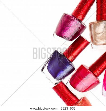 Nail polish isolated on white background. Beauty poster
