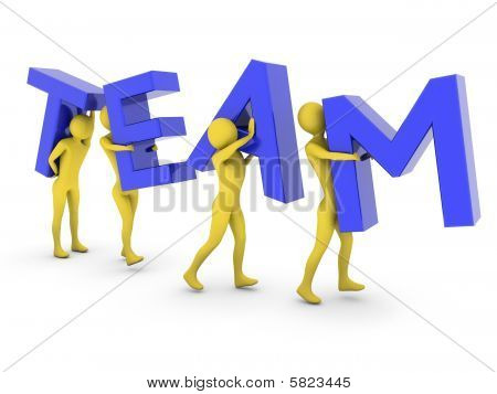 People Working Together Carrying Blue Team Letters