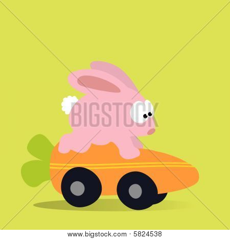 An illustration of a bunny racing a carrot mobile poster