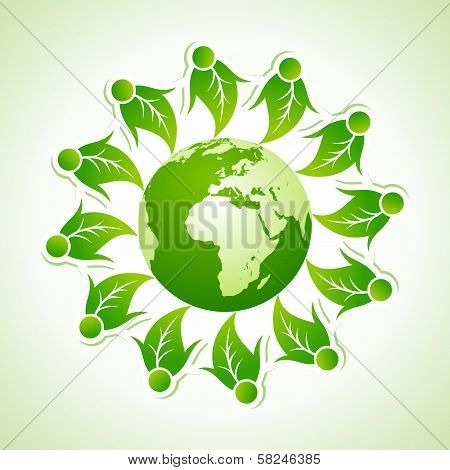 Ecology concept with globe stock vector