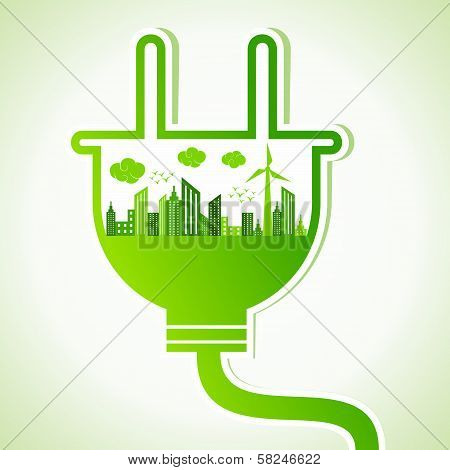 Ecology concept with electric plug - vector illustration poster