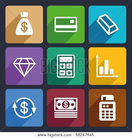 Money and bank Flat Icons Set 41
