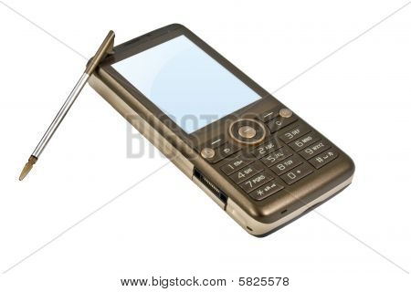 Brown Mobile Phone With Stylus
