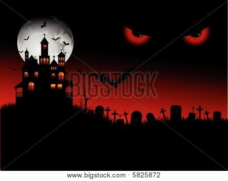 Halloween espeluznante escena