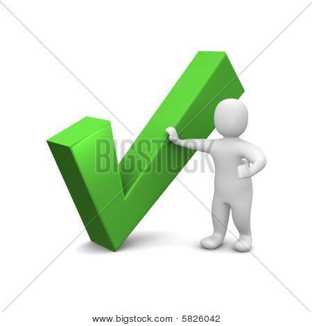 Man and green check mark