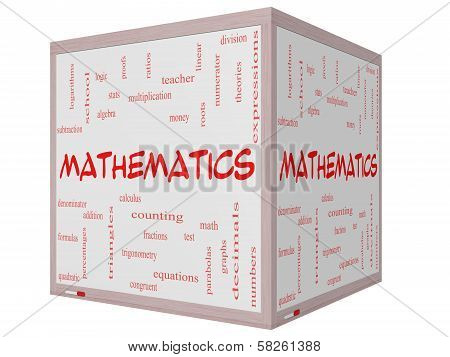 Mathematics Word Cloud Concept on a 3D cube Whiteboard with great terms such as fractions algebra calculus and more. poster