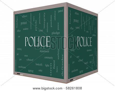 Police Word Cloud Concept On A 3D Cube Blackboard