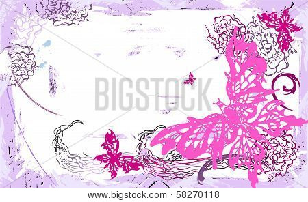 Vector horizontal card with butterflies and flowers