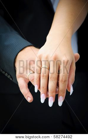Two Wedding Hands. Endearment People. Bride And Groom