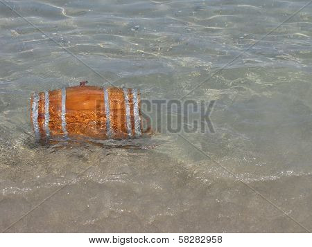 Wooden Barrel In The Sea