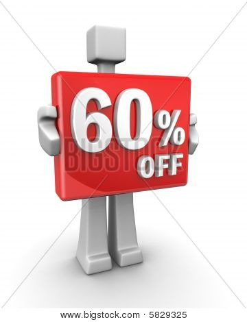 Sales concept a man showing 60 percent off signboard 3d illustration poster