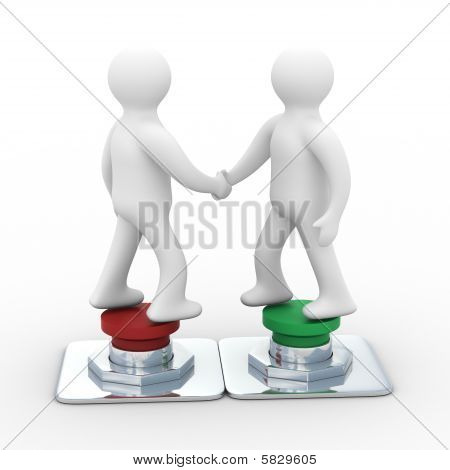 Handshake. Meeting Two Businessmen. Isolated 3D Image
