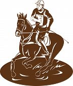 vector illustration on the equestrian sport of horse racing poster