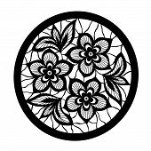 floral design element. Flowers with imitation lace and embroidery. beautiful lace flower isolated poster