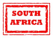 Used 2010 South Africa Football red stamp isolated on white background. poster