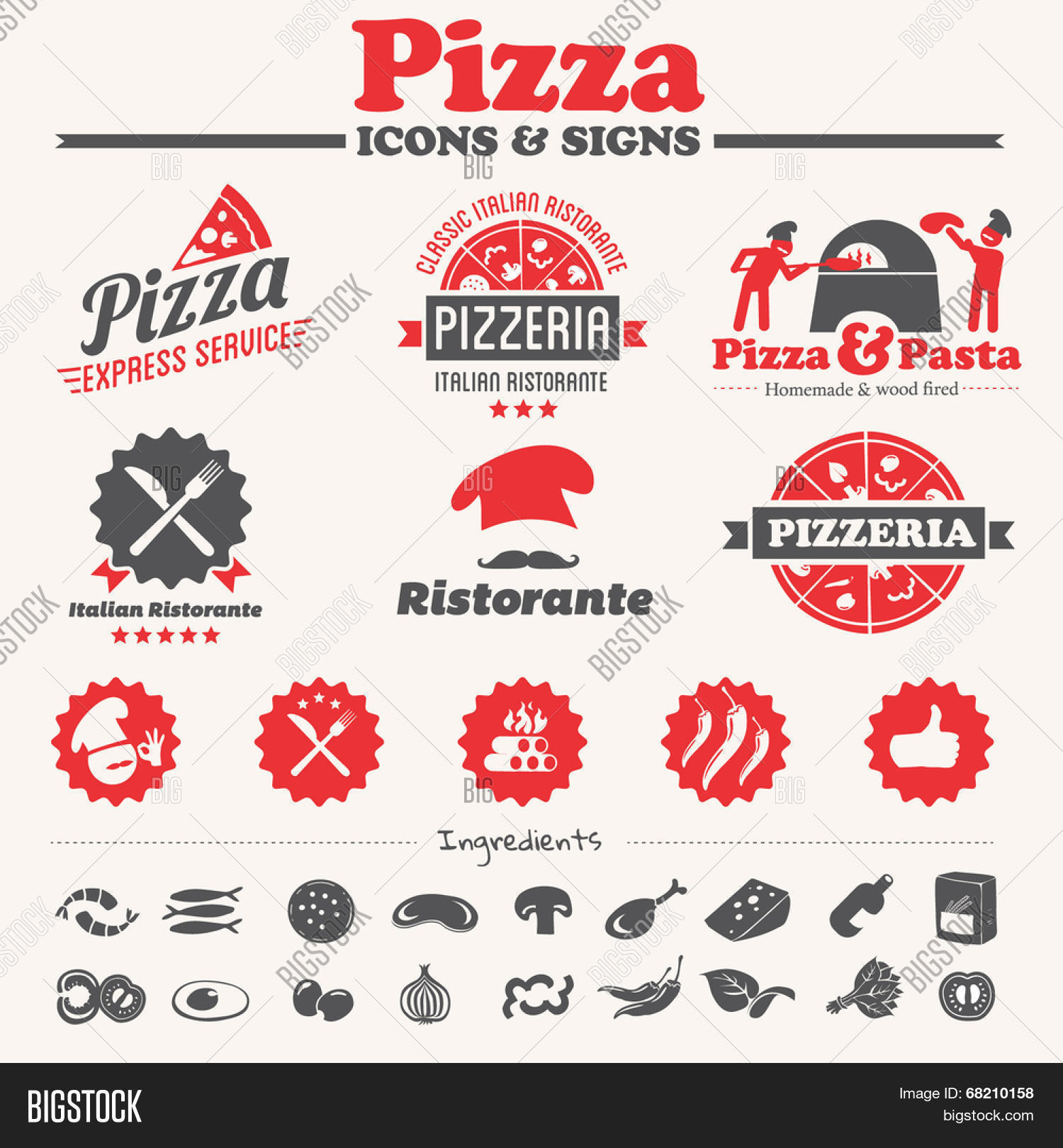 Pizza Icons Labels Vector Photo Free Trial Bigstock