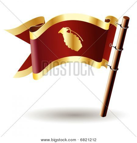 Hand grenade on red and gold flag