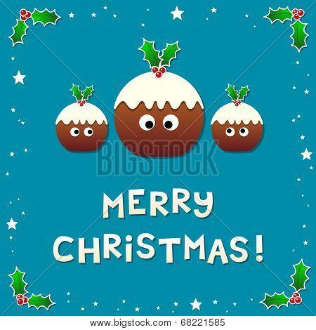 Cute Christmas Puddings Wishing A Merry Christmas