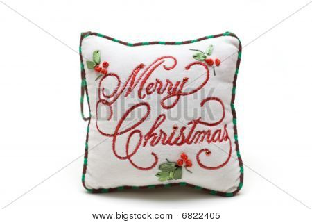 hand-made white cushion for christmas