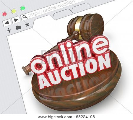 Online Auction 3d words with wood gavel on a website screen or internet website