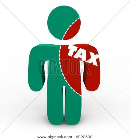 A person with a portion marked to cut out of him symbolizing the pain of taxes poster