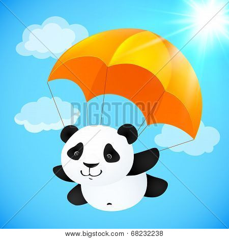 Funny cute panda flying with orange parachute