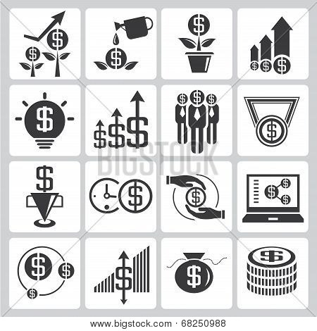 set of 16 investment and financial icons poster