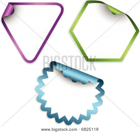 White Labels And Stickers With Colorful Border