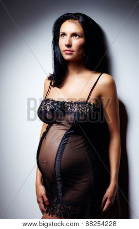 Sensual Pregnant Woman In Nightie