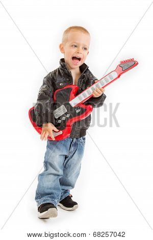 little rocker boy with his guitar