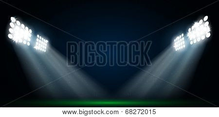 Four Spotlights On A Football Field Vector