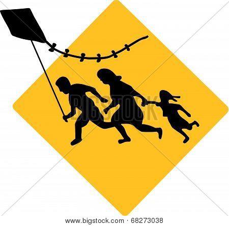 Running Family Flying a Kite
