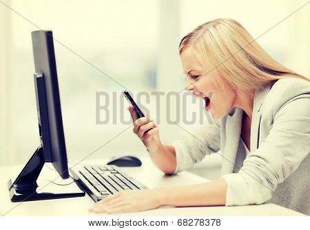 picture of angry woman shouting at phone